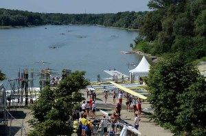 Visão da raia de Linz-Ottensheim, durante treinamento do Mundial S23 (Foto: ©Detlev Seyb/MyRowingPhoto.com)